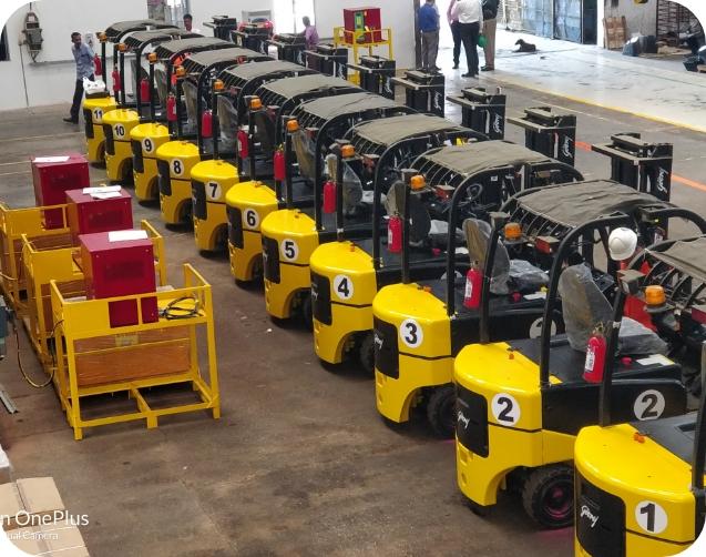 Battery operated forklift rental fleet
