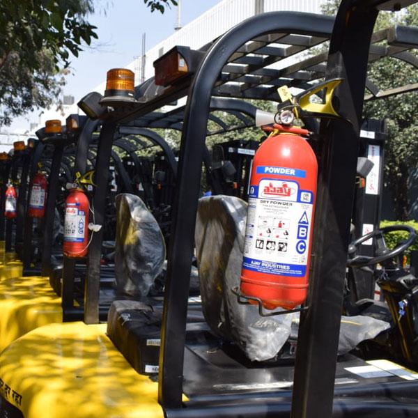 Fire extinguisher on forklift
